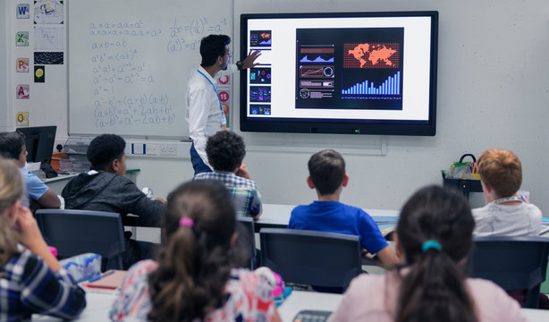 Male teacher leading lesson at touch screen television in classroom