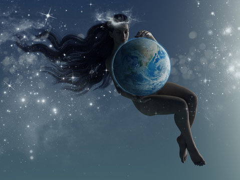 A woman holds planet earth floating in the universe