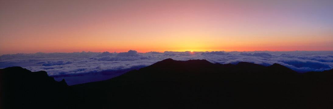 Sunrise over Haleakala volcano summit, Maui, Hawaii