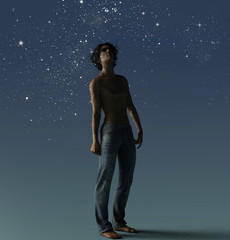 Young man with night sky becoming the universe