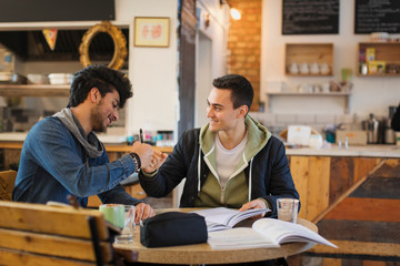 Young male college students studying, fist bumping in cafe