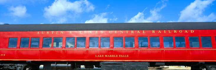 Historic red passenger car, Austin & Texas Central Railroad