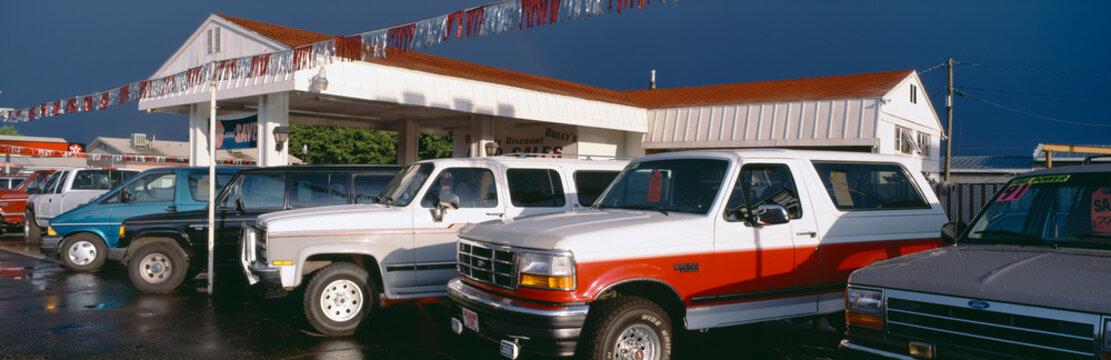 Trucks in used car lot, St. George, Utah