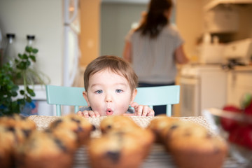 Cute excited girl starting at fresh homemade muffins