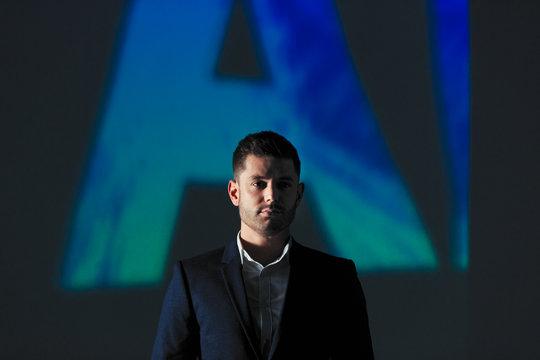 Double exposure portrait confident businessman against AI text