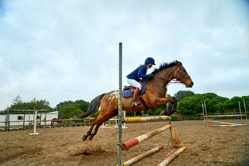 Teenage girl practicing equestrian jumping in paddock