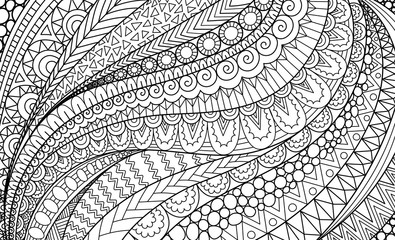 Line art of abstract movement for background, adult coloring book,coloring page and other design element. Vector illustration