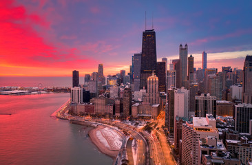 Chicago red sunrise aerial view of Gold Coast