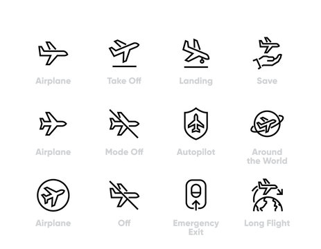 Plane Flight vector icons. Airplane, Aircraft, Landing, Autopilot, Long Flight. Editable line
