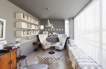 Modern luxury home showcase interior den sitting area