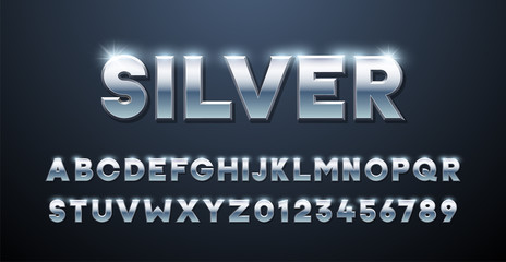 Silver Alphabet. Metallic font 3d effect typographic elements. Mettalic stainless steel three dimensional typeface effect