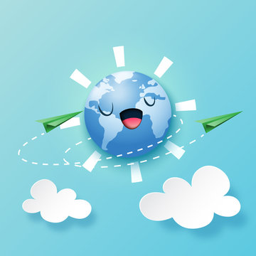Paper art of green ecology and environment or travel around the world concept  template background.Vector illustration.