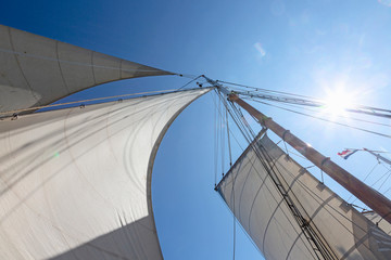 Sailboat sails blowing in wind below sunny blue sky