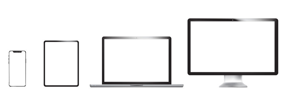 Set of realistic phone, tablet, laptop and PC. Vector graphic
