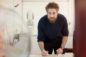 Portrait confident male engineer planning at whiteboard in office