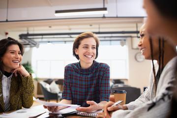 Smiling businesswomen talking in meeting