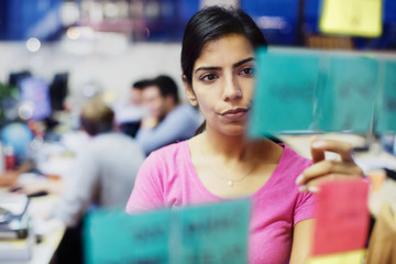 Focused businesswoman with adhesive notes planning in office