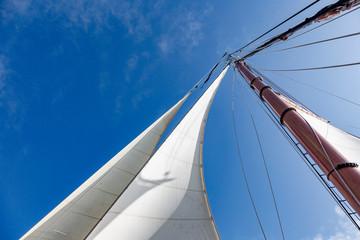 Sailboat sail and mast under sunny blue sky