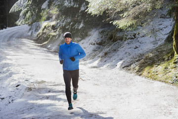 Man jogging in snow