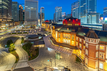 Wall Mural - Tokyo cityscape at night with view of Tokyo Station in Japan