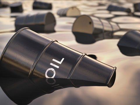 Oil barrels floating, illustration