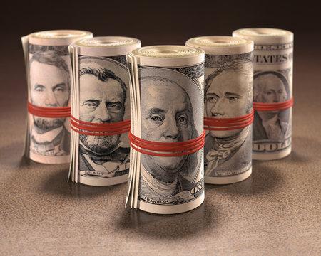 Dollar bills rolled up, illustration
