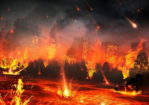 Artwork of a City Hit by Meteorites