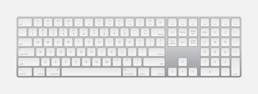 Modern silver laptop bluetooth keyboard isolated on white. Minimalistic keyboard with black buttons. Vector illustration