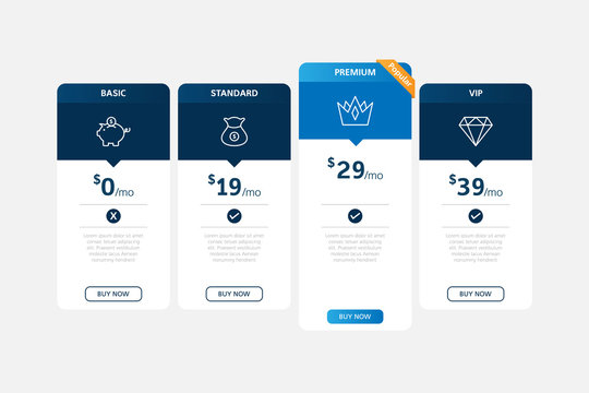 Pricing table template design vector