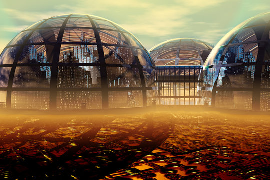 Domed Futuristic City, illustration