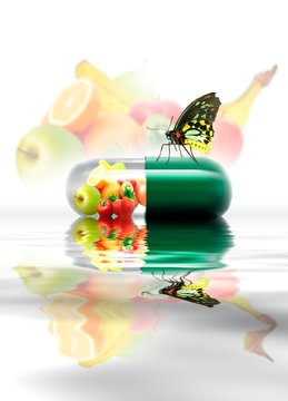 Food in a capsule with a butterfly