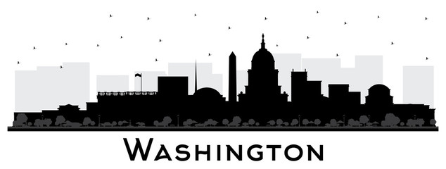 Wall Mural - Washington DC USA City Skyline Silhouette with Black Buildings Isolated on White.