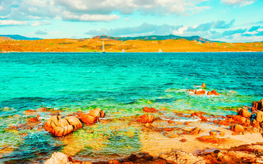 Fototapeten Reef grun Landscape with Romantic morning at Capriccioli Beach in Costa Smeralda of the Mediterranean sea on Sardinia island in Italy. Sky with clouds. Porto Cervo and Olbia province. Mixed media.