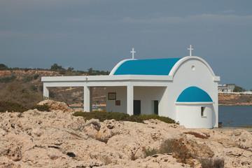 Church on rocky sea coast. Cape Greco, Ayia Napa, Cyprus