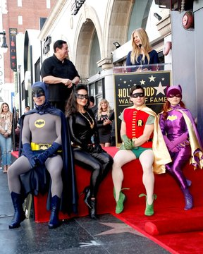 Burt Ward, Nancy O'Dell, Batman, Catwoman, Robin, Riddler at the induction ceremony for Star on the Hollywood Walk of Fame for Burt Ward