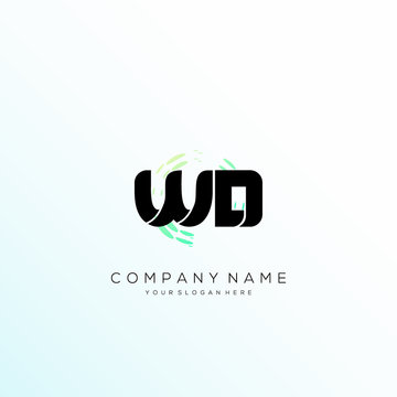 WD Letter Multiply Colorful Logo Designs vector