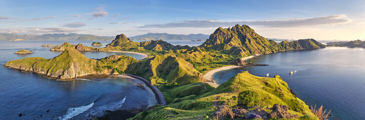 Photo on textile frame Island Landscape view from the top of Padar island in Komodo islands, Flores, Indonesia.
