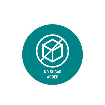 Sugar free label for no sugar added product package icon. Vector black sugar free food symbol