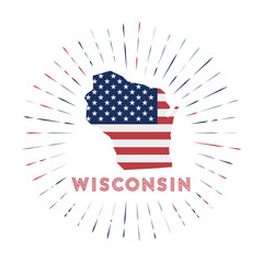 Wisconsin sunburst badge. The us state sign with map of Wisconsin with American flag. Colorful rays around the logo. Vector illustration.