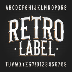 Retro Label alphabet font. Hand drawn vintage letters and numbers. Vector typescript for your typography design.