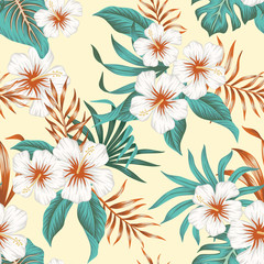 Tropical vintage white hibiscus, palm leaves floral seamless pattern yellow background. Exotic jungle wallpaper.