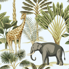 Tropical vintage elephant, giraffe wild animals, palm tree and plant floral seamless pattern blue background. Exotic jungle safari wallpaper.