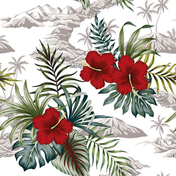 Tropical vintage botanical island, palm tree, mountain, palm leaves, hibiscus flower summer floral seamless pattern white background.Exotic jungle wallpaper.