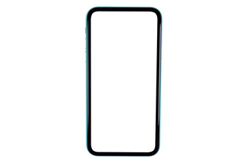 Smartphone with blank screen mock up. Smartphone isolated screen. Mobile phone white screen with...