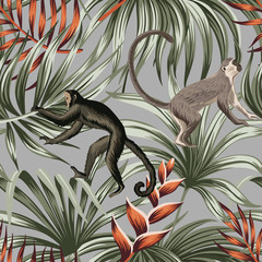 Tropikalna małpa vintage, czerwony egzotyczny kwiat, liście palmowe kwiatowy wzór szary tło. Tapeta egzotycznej dżungli. - 315282815