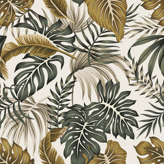 Spoed Fotobehang Kunstmatig Tropical floral vintage foliage palm leaves seamless pattern grey background. Exotic jungle wallpaper.