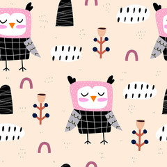 Tuinposter Uilen cartoon Seamless pattern with cartoon owls, decor elements on a neutral background. Flat style colorful vector illustration for kids. hand drawing. baby design for fabric, textile, print, wrapper.