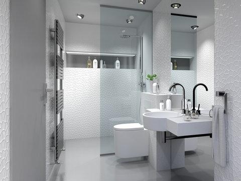 Kleines Duschbad, Badezimmer, Bad mit Dusche und WC.
