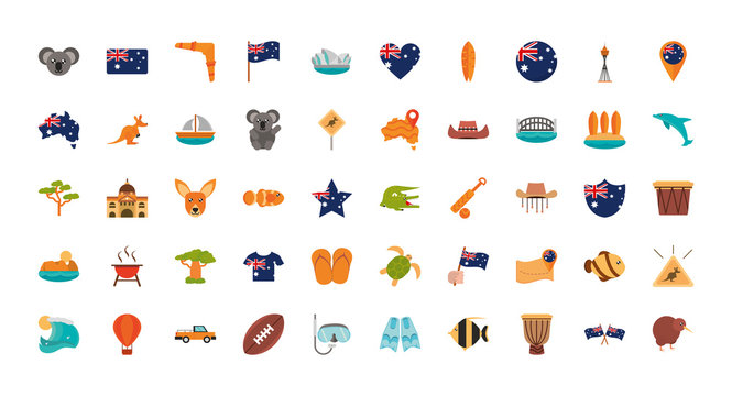 australia animal things famous sites icons set on white background