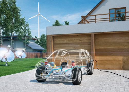 Modernes Elektroauto zu Hause Strom tanken Energiewende Strommix x-ray röntgenansicht 3d render